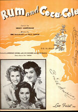 """ANDREWS SISTERS Sheet Music """"Rum And Coca-Cola"""""""