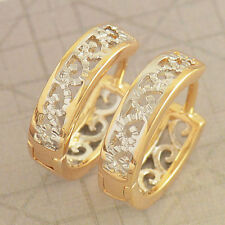 Cute Fashion 18K Gold Filled Hollow Womens Two Tone Snap  Openwork Hoop Earring