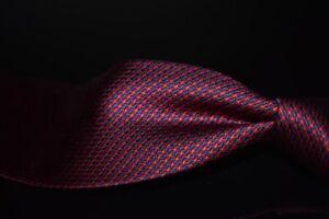 LNWOT TALL GUYS Seigo Katsuragawa Japan Red Satin Blue Houndstooth Silk Tie NR