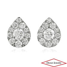 Estate Diamond 14K White Gold Cluster Pear Small Stud Earrings NR
