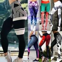 Women's High Waist Yoga Print Pants Sports Leggings Workout Fitness Trousers Gym