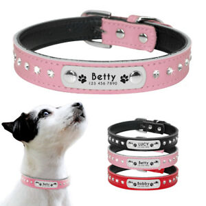 Personalized Dog Collar Rhinestone Leather Engraved Dog Puppy ID Name Collars