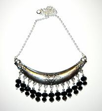 HANDCRAFTED UNIQUE STATEMENT COLLAR NECKLACE WITH BLACK DROPS