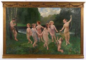 "Wanda Roehling ""Arcadian Scene"", monumental oil on canvas painting, 1900/1910"