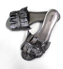 Michael Michael Kors Bella Ruffle Ruched Leather Slide Sandal Pewter Size 10 M