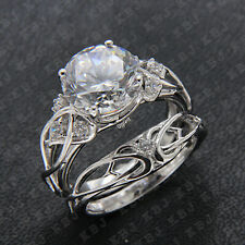 Cut Diamond Vintage Engagement Ring Set 14K White Gold Finish 2.25 Ct Round