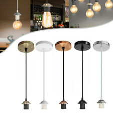 UK Light Pendant Fitting Ceiling Rose E27 Suspension Set 5 Colours Light Base
