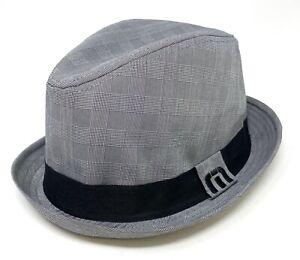 Travis Mathew Men's Gerry Fedora Fitted Hat Cap - Gray/Black Trim