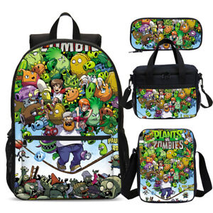 Plants vs Zombies Game School Backpack Lunch Box Messenger Bag Pen Lot Boys Gift