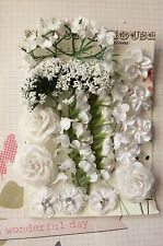 i Foliage 7 Style PAPER /& FABRIC 5-35mm HH5 WHITE /& GREEN FOLIAGE 18 Flowers