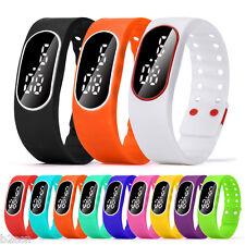 Men Women Rubber White LED Digital Watch Sports Bracelet Wrist Watches Pedometer