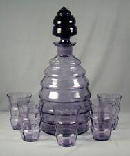 Czechoslovakia Colony Glassware Amethyst Art Deco Decanter & Glasses Set