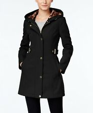 Via Spiga Petite Hooded Softshell Raincoat Black PM $200