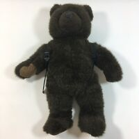 """Vintage LL Bean Plush Brown Bear With Blue Backpack 16"""" Teddy Stuffed Animal Toy"""