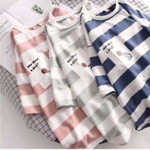 Japanese Korean fashion oversized striped tee streetwear (ST61)
