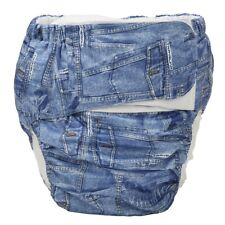 1 Large Adult Cloth Diaper Nappy Reusable Washable Incontinence Jean Hook Loop