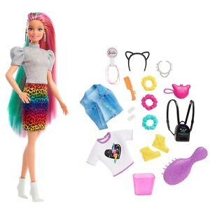 MATTEL® GRN81 Barbie Leoparden Regenbogen-Haar Puppe, NEU & OVP