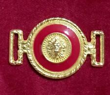 Lion Head Gold Tone and Red Enamel Garment Buckle