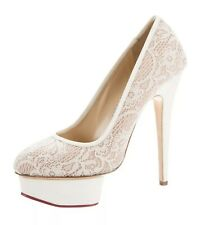 Charlotte Olympia Polly White Ivory lace Platforms Pumps Stilettos Size 39