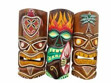 """Vibrant Set of (3) Wooden Hand carved 12"""" Tall Tiki Masks Tropical Wall Decor!"""