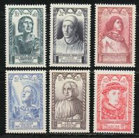 France 1946 MNH Mi 765-770 Sc B207-B212 Joan of Arc,Charles VII,Jean de Gerson**