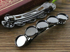 5pcs Gun Black Hair Barrettes | 5x12mm Cabochon Settings