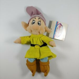 "Disney Store Snow White Seven Dwarfs Dopey 8"" Mini Bean Bag Plush NWT"