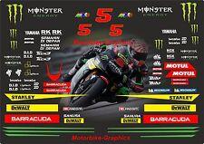 2017 Johann Zarco T-Ech 3 Moto GP Raza Calcomanías Gráficos Pegatinas Kit Completo Bin