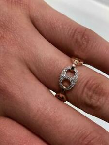 14k Rose Gold & Genuine White Diamonds 0.20ct Pave Gucci Design Eternity Ring