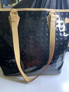 ARCADIA Patent Leather Black Purse Tote Handbag Made In ITALY