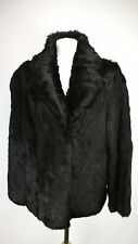 100% Genuine Rabbit Fur Womens Coat, Size 16, Black/Brown Mix, Very Good Cond