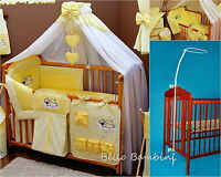 8 pcs BABY BEDDING SET /BUMPER/CANOPY /HOLDER to fit COT or COT BED YELLOW