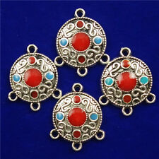 4Pcs Carved Tibetan Silver Round 19x3mm Pendant Bead D18080605