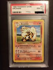 PSA 10 GEM MINT Arcanine 23/102 1999-2000 UK Pokemon Base Set 4th Print WOTC