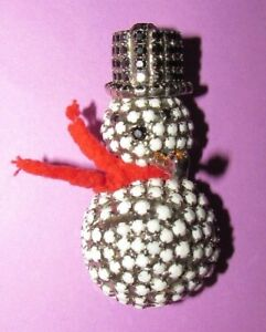 DOROTHY BAUER 3d WHITE SNOWMAN CHRISTMAS Rhinestone BROOCH PENDANT RARE RETIRED