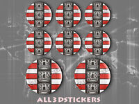 8 x 3D Stickers Resin Domed Flag North Dakota USA Adhesive Decal Vinyl
