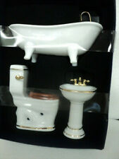DOLLHOUSE PORCELAIN BATHROOM SET/ WHITE W/ GOLD