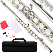 NEW NICKEL/SILVER SCHOOL BAND STUDENT C FLUTE w/KIT CASE GLOVES