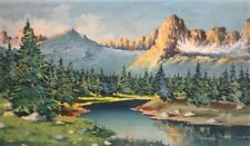 ANTIQUE EUROPEAN GOUACHE IMPRESSIONIST LANDSCAPE RIVER SIGNED