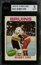 1975-76~O-PEE-CHEE HOCKEY~#100~BOBBY ORR~HOF~BOSTON BRUINS~KSA 9 MINT