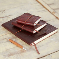Embossed Leather Notebook, Brown, 60 Unlined Recycled Paper Journal, 3 Sizes