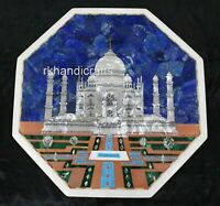 15 Inches Marble Corner Table Top Special Art End Table Handcrafted from India