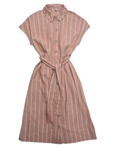 NEXT Coral Pink Ivory Coast Shirt Dress Collar Wood Effect Buttons