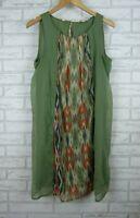 Esprit Slip dress Sleeveless Green, orange print Sz UK16