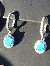 18K GOLD 5.20 CT. CERTIFIED GIA GREEN BLUE PARAIBA TOURMALINE DIAMOND EARRINGS!!