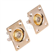 2pcs Gold Electric Guitar Output Input Jack Socket With Square JaCK Plate