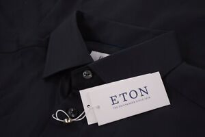 Eton NWT Dress Shirt Size 16.5 42 Contemporary Solid Solid Black Textured Twill