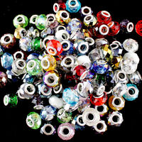 10pcs New Facet Crystal Glass Round Big Hole Silver Spacer European Charm Beads