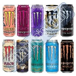 MONSTER ENERGY DRINK 500ml ULTRA VIOLET BLUE MONARCH BLACK PACIF PUNCH MULE