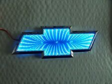 New for Chevy Chrome & Blue LED Bowtie Grille Trunk Badge Emblem Lamp  Free Ship